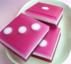 Pink sugar all natural bunco dice soap.  I love BUNCO - these are too cute!