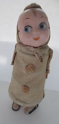 Antique Kewpie Doll Spring Action RARE Celluloid Face Wood Legs Clothed | eBay