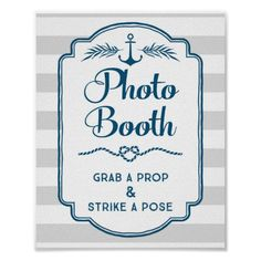 Shop Photo Booth Wedding Sign Blue Nautical Stripes created by DreamingMindCards. Nautical Bridal Showers, Nautical Wedding Theme, Nautical Party, Baby Shower Photo Booth, Baby Shower Photos, Baby Boy Shower, Baby Showers, Nautical Photo Booth, Nautical Stripes