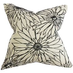 """This throw pillow is the perfect choice for your styling needs. Adorned with a classic floral pattern with a black-and-white color combination, this square pillow complements any space in your home. This 18"""" pillow is expertly crafted with a combination of 80% cotton and 20% polyester fabric. $55.00  #pillows  #homedecor  #floralprint"""