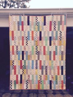 Hadley Sticks quilt. Inspired by the Stick Shift quilt by Diary of a Quilter's Amy Smart. Most fabrics are Denyse Schmidt -Hadley collection.
