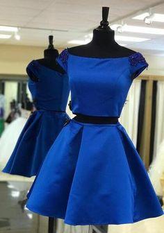 two piece short homecoming dress, 2017 short homecoming dress, short royal blue homecoming dress, party dress dancing dress