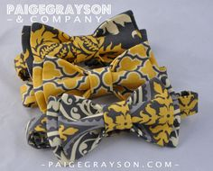 Mens Pre-tied Charcoal Grey and Mustard Yellow Bow Tie. $24.00, via Etsy.