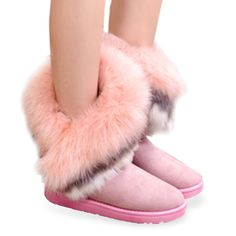 Gamiss Fox Fur Warm Autumn Winter Wedges Snow Women Boots Shoes Lady Short Boots Casual Long Snow Shoes Fur Women Snow Boots