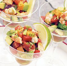"""Grilled Shrimp """"Margarita"""" with Avocados & Garden Tomatoes"""