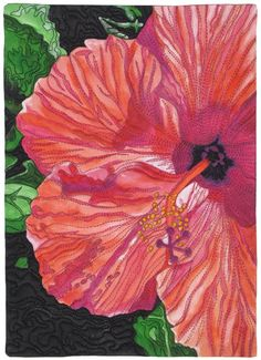 Daily Hibiscus by Susan Brukaber knapp    Floral Art Quilts From Our Readers - Ellen's Blog - Quilting