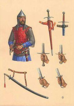 Russian warrior and swords