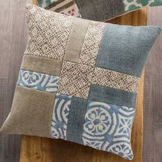 Block Print and Stone Wash Patchwork Pillow Covers - - Block Print and Stone Wash Patchwork Pillow Covers embroidery quilt ideas VivaTerra Block Print und Stone Wash Patchwork Kissenbezüge Patchwork Cushion, Quilted Pillow, Patchwork Quilting, Patchwork Ideas, Patchwork Patterns, Patchwork Designs, Hand Quilting, Sewing Patterns Free, Quilt Patterns