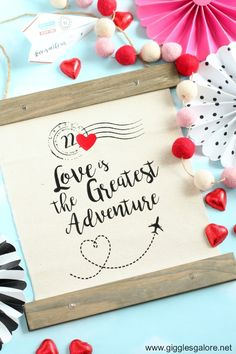 DIY Love is the Greatest Adventure canvas banner you can hang in your home or at your Valentines Day party! : DIY Love is the Greatest Adventure canvas banner you can hang in your home or at your Valentines Day party! Valentine Box, Valentines Day Party, Valentine Day Crafts, Valentines Games, Valentines Design, Home Crafts, Easy Crafts, Crafts For Kids, Anniversary Dates