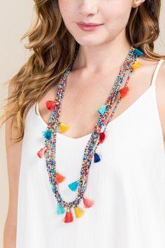 Lani Beaded Tassel Necklace- Multi multi-clmodel