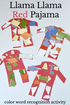 Learn color word recognition with this Llama Llama Red Pajama literacy activity. It also builds math skills and fine motor skills. It is just one of the books featured in the Virtual Book Club for Kids. Kindergarten, Preschool Literacy, Literacy Activities, Toddler Activities, Preschool Activities, Creative Curriculum Preschool, Educational Activities, Preschool Projects, Preschool Lessons