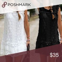 "BLACK lace dress. No sheer. Super pretty.Shift dress, S-Length: 36 inches , bust and waist: 35-36 inches. Size m length 36. bust and waist 36-37""; L length: 36"", bust and waist: 37-38"" Dresses Mini"