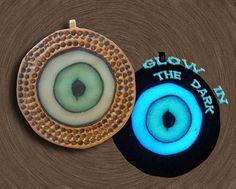 Handmade Glow in the Dark Eyeball Aqua Ivory and by EyeGloArts, $45.00