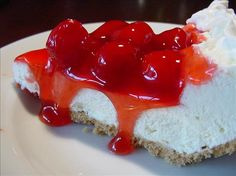 No Bake Cherry Cheesecake Pie from Food.com:   This recipe is from Grandma B. I am especially amused when I take it to a pot luck and people think I bought it because I can top it with the neat cover the ready-made crust comes with! Very easy! Be sure to chill well for a firm cheesecake.