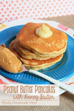 Peanut Butter Pancakes with Honey Butter - Easy homemade Bisquick baking mix pancakes get a yummy peanut butter twist and topped with honey butter - no need for syrup!
