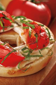 Smoked Tomato, Basil and Brie Bagel: Simple, savory and bagel-ready, this recipe from celebrity Chef Tim Love is filled with bright summer flavor. Just top a toasted Thomas' Bagel with warm brie, tomato and fresh basil. [Promotional Pin]