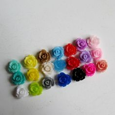 Small 10mm x 6.5mm Resin Rose Flower by BeadFindingUtopia on Etsy