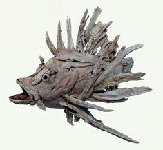 Lionfish sculpture with Limewash by Tony Fredriksson openskywoodart.com