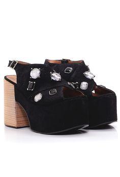 Sandalias Coka con piedras negro