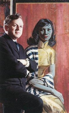 Tretchikoff and his Mandarin Girl. This is the same model who sat for his famous Miss Wong and Lady from Orient. Portraits, Portrait Art, South African Holidays, Kitsch Art, Francis Picabia, Artists And Models, South African Artists, Mid Century Art, Island Girl