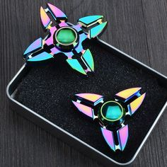 NEW Metal Tri-Spinner Colorful Fidget Cool Decompression Spinner Toy  EDC Gyro With Retail Box