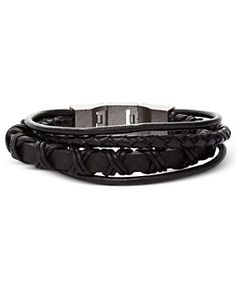 Men's Bracelet, Black Leather Multi-Wrap Bracelet