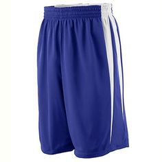 Augusta Sportswear Elastic Waistband Full Cut Reversible Wicking Game Short. 691 Description   Color side is 100% polyester wicking knit, White side is 100% polyester wicking tricot, Fully reversible for wearing on either side, Full-cut, Covered elastic waistband with inside drawcord, Each layer has two contrast color V shaped side panels, 9-inch inseam, Double-needle hemmed bottom. G0tApparel.