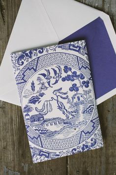 Custom chinoiserie inspired pocketfold wedding invitations from Smock