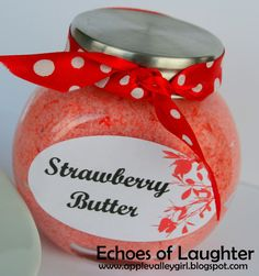 Christmas:Strawberry Butter-an easy gift to make with a mixer and just 3 ingredients!! So yummy!