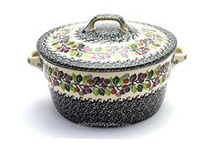 Polish Pottery Baker  Round Covered Casserole  Burgundy Berry Green >>> Click image for more details.