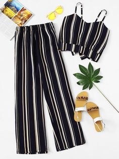 Navy Blue Striped Cami Top With Wide Leg Pants Outfit Teen Fashion Outfits, Look Fashion, Outfits For Teens, Stylish Outfits, Girl Outfits, Fashion Tag, Fashion Black, Cheap Fashion, Street Fashion