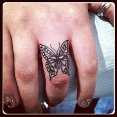Absolutely gorgeous detailed butterfly finger tattoo from @lazerliz- #webstagram
