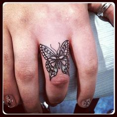 Absolutely gorgeous detailed butterfly finger tattoo from @lazerliz- #webstagram