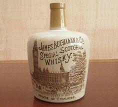 Victorian Stoneware Scotch Whisky Crock Jug Old Buchanan Whiskey Vintage Bottle