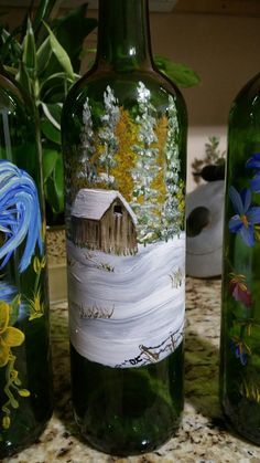 me ~ Pin on My painted wine bottles ~ This Pin was discovered by Denise Crawford. Wine Bottle Glasses, Wine Bottle Art, Painted Wine Bottles, Hand Painted Wine Glasses, Lighted Wine Bottles, Bottle Lights, Wine Bottle Crafts, Jar Crafts, Painted Glass Blocks