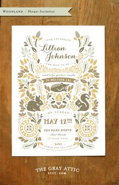 LOVE THESE! Woodland Baby Shower Invitation Autumn Forest by TheGrayAttic