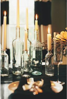Nothing sets a ghostly atmosphere quite like candles galore. Up the spook factor by converting old wine bottles into candlestick holders. For added drama, light the candles and let them melt a bit before your guests arrive and voilà - instant haunted house vibe!