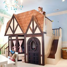 OK, I admit that this goes into the utterly ridiculous price category... But, can you stand how cute it is?!!! This is an English Tudor Cottage Bed - think bed playhouse combination piece.