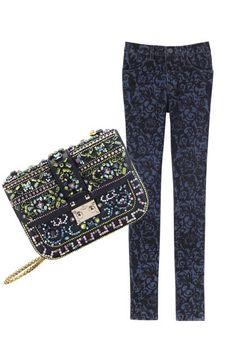 J Brand Jeans and Crystal-embroidered handbag by Valentino Garavani Autumn Winter Fashion, Fall Winter, J Brand Jeans, Valentino Garavani, Lust, Passion, Handbags, Crystal, Dark