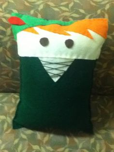 Peter Pan. Pillows can be bought at etsy.com/shop/pokeypillows.