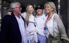 Keke Rosberg, Vivian Sibold, Nico Rosberg and Sina Rosberg - world champion Nico Rosberg's party goes with a swing after dad Keke races in to Abu Dhabi Nico Rosberg, Lewis Hamilton, Formula One, Genetics, First World, Grand Prix, Champion, Dads