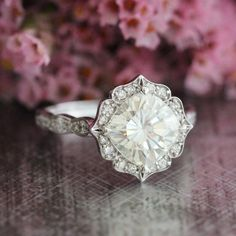 Floral Moissanite Engagement Ring in 14k White Gold Scalloped Diamond Wedding Band 8x8mm Cushion FB Moissanite Ring (Bridal Set Available)