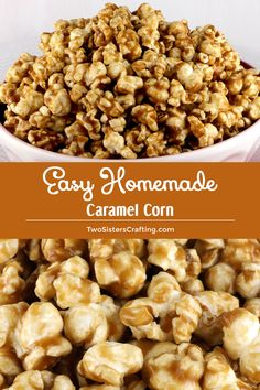 Our Easy Homemade Caramel Corn is a family favorite. It is super yummy and super easy. And you don't need Corn Syrup for this recipe. Carmel Popcorn Recipe Easy, Caramel Corn Recipes, Homemade Popcorn, Popcorn Recipes, Snack Recipes, Candy Recipes, Sweet Desserts, Sweet Recipes, Easy Desserts