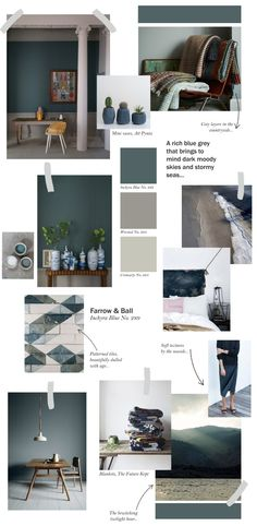 Farrow & Ball collage - Inchyra Blue Top ideas on how to use this stunning colour. Farrow And Ball Inchyra Blue, Up House, Sweet Home, Blue Bedroom, Farrow Ball, Room Colors, Colours, Paint Colors, Colorful Interiors