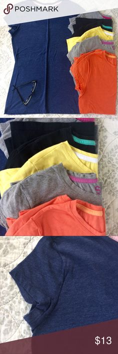 Bundle of 6 SO Short Sleeve Tops Size L Bundle of 6 SO Short Sleeve Tops Size L. Navy blue, yellow, orange are EUC. Black and 2 gray are good condition with some pilling and wear. I can't be the only one who buys shirts in multiple colors, can I? Bundle for additional discounts and seller offers. SO Tops Tees - Short Sleeve
