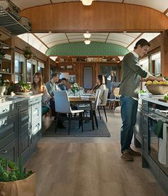 An old railway car redesigned as a cool kitchen/dining area! I'm in love! Design by Marbodal.se