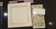Final kitchen selections: Tahoe cabinets painted Silk with Hazelnut glaze; granite in New Venetian Gold; and backslash in Biscuit (beveled gloss).