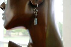 Pretty Tear Drop Shape Labradorite Earring with Twisted Sterling Loops and Beads by SuzanneImagines on Etsy