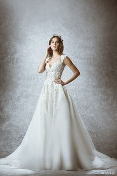 #dream #wedding #dress zuhair murad bridal fall 2015 wedding dress sleeveless sweetheart neckline lace embroidered bodice a line gown with overskirt marcia