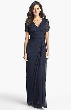 NWT Adrianna Papell Navy Blue Pleated Draped Chiffon Gown, Size 4 Petite